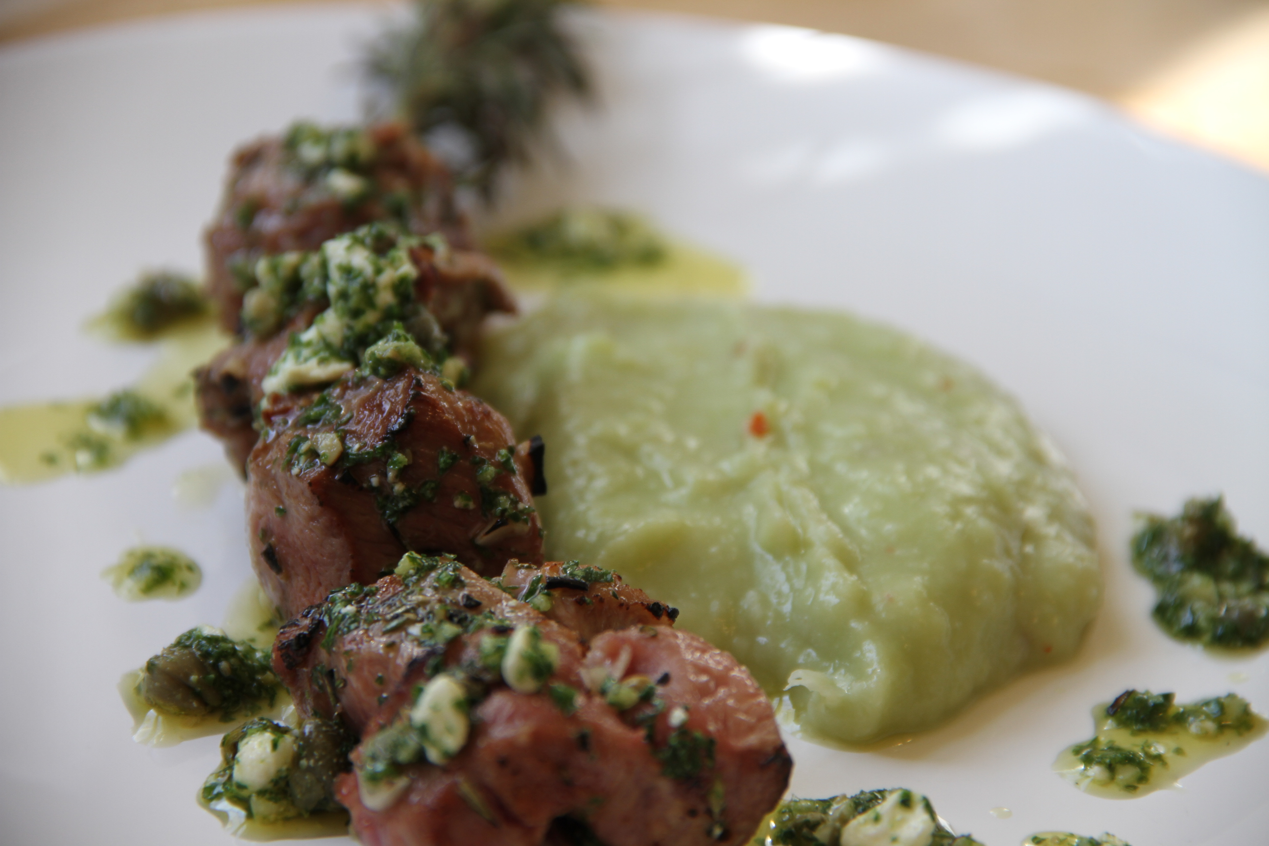 lamb skewers with lima bean puree