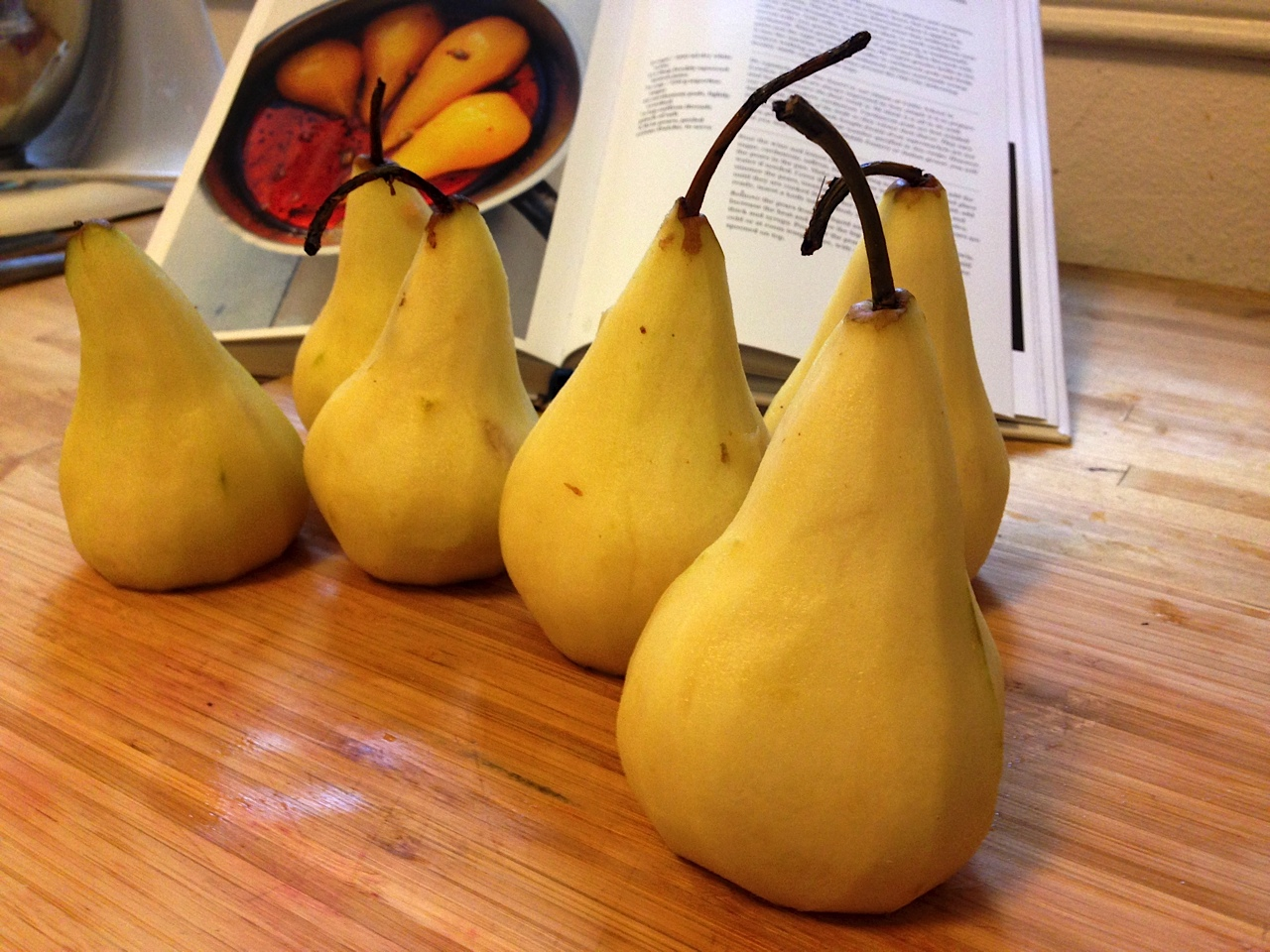peeled pears for poaching