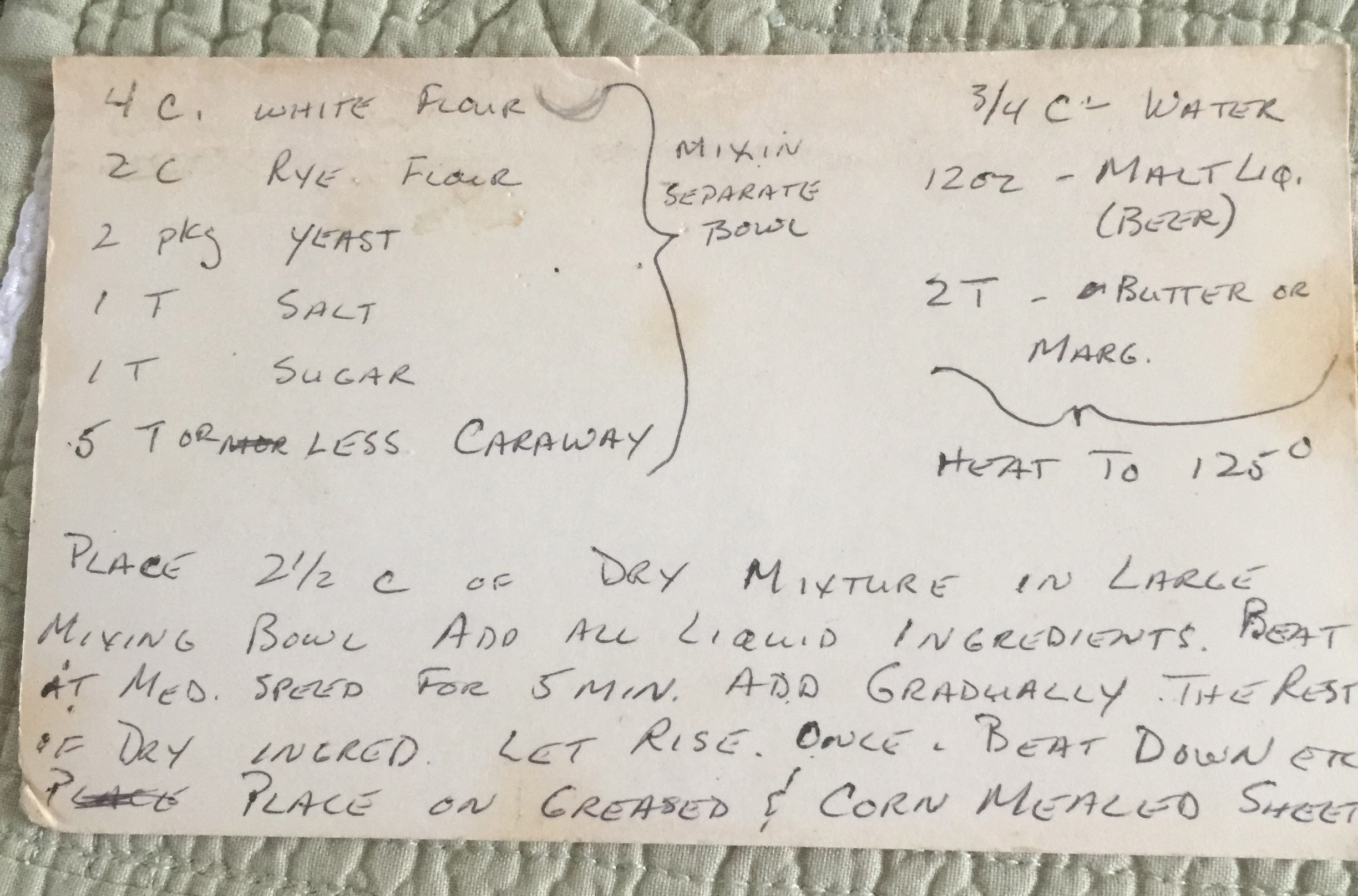 index card with rye bread recipe