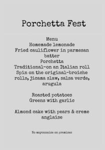 Porchetta Fest menu