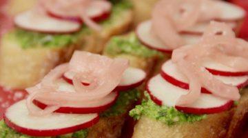 pesto radish crostini