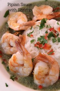 pipian sauce on shrimp