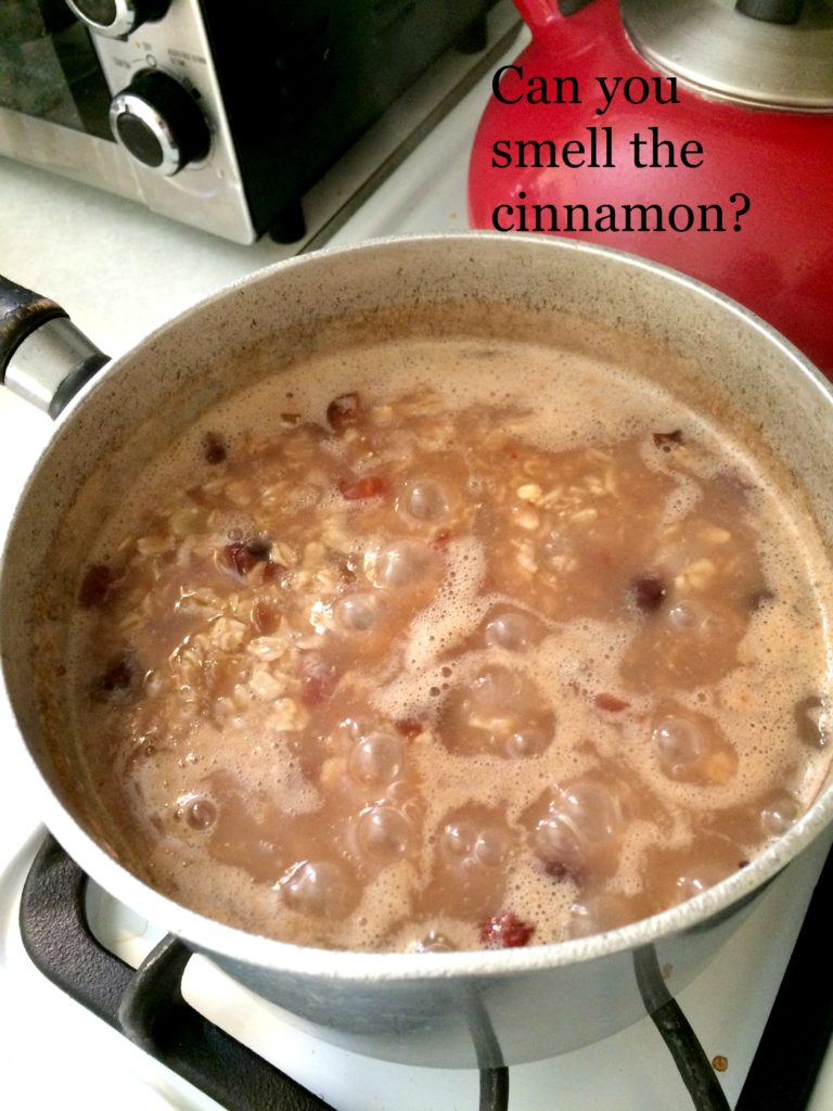 Cinnamon Raisin Oatmeal bubbling